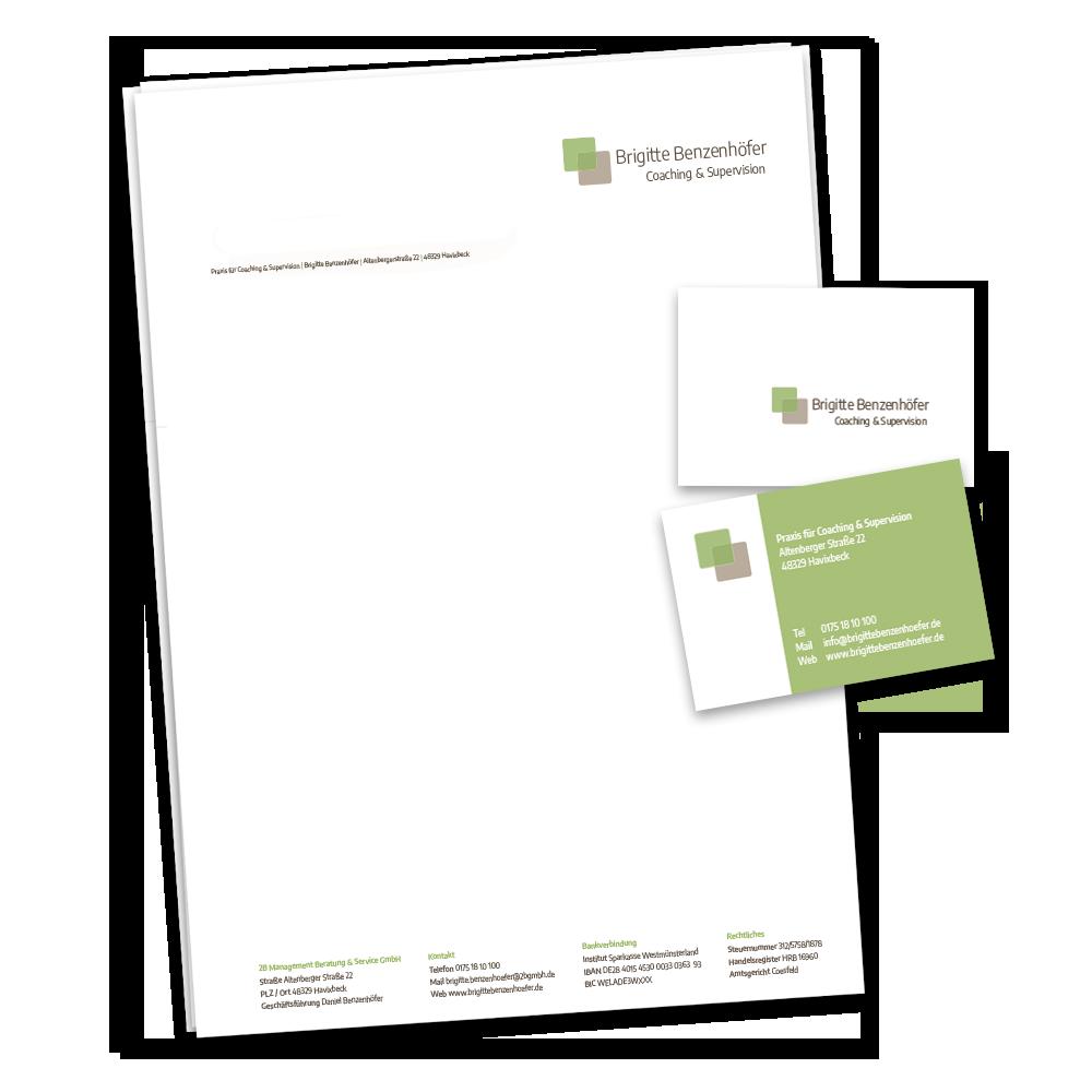 Calcanto Werbeagentur Referenz Brigitte Benzenhöfer Corporate Design visitenkarten Briefpapier Logo