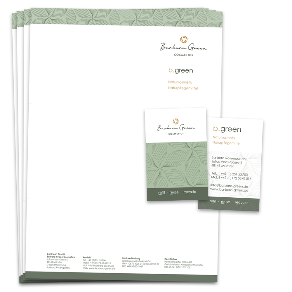 Calcanto Werbeagentur Referenz Barbara Green Corporate Design Briefpapier Visitenkarte